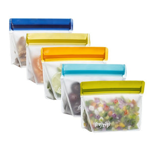 ReZip, Stand-Up 1-cup | 8-ounce Leakproof Reusable Storage Bag 5-pack