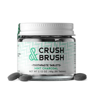 Nelson Naturals, Crush & Brush Mint Charcoal- 60G ~ 80 TABLETS