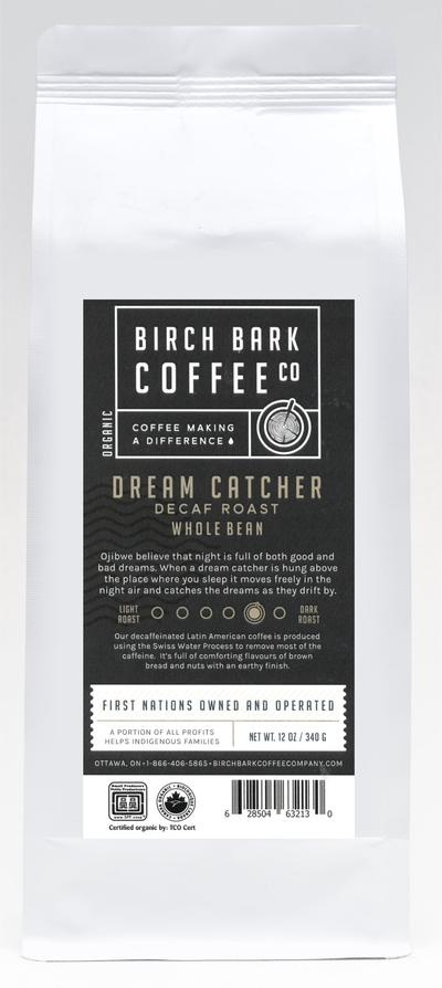 Birch Bark Coffee Co — Organic Wholebean Coffee — Dream Catcher Swiss Water Decaf, Med/Dk Roast (340g)