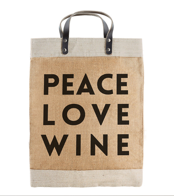 Peace Love Wine Market Tote