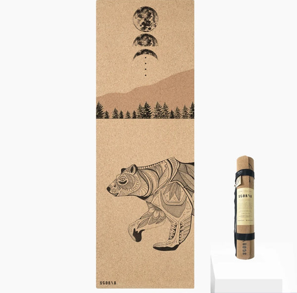 Scoria Night Bear Cork Yoga Mat | 4.5MM