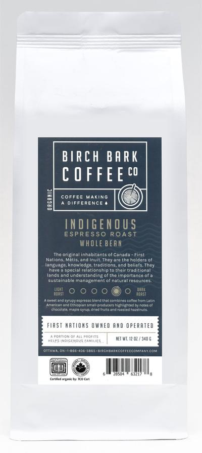 Birch Bark Coffee Co — Organic Wholebean Coffee — Indigenous Espresso, Med/Dk Roast (340g)