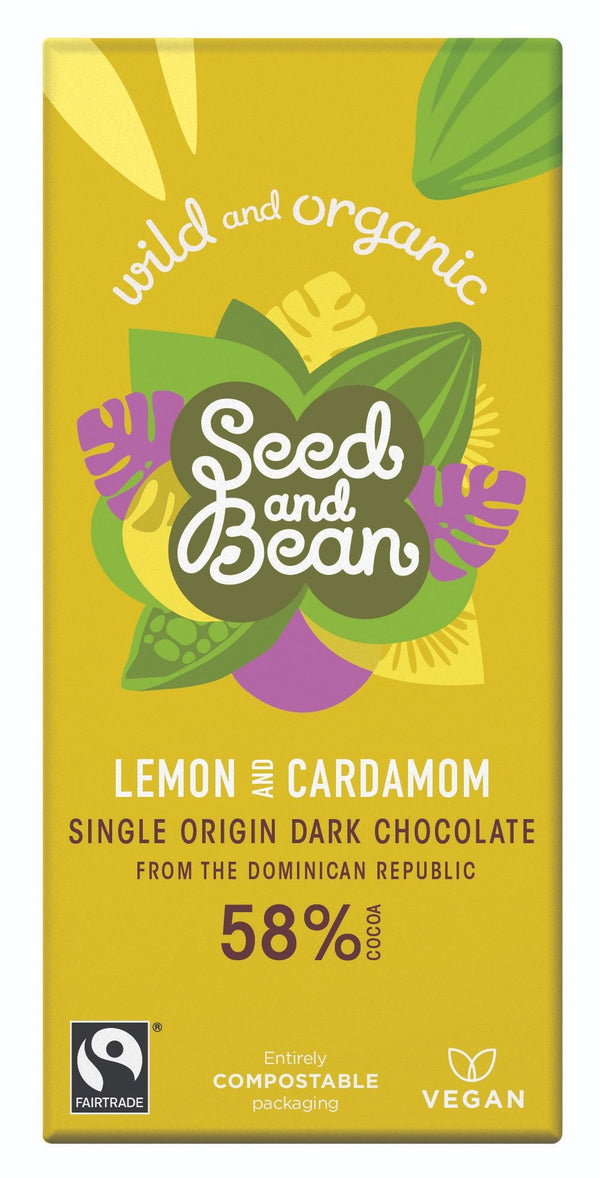 Seed & Bean, Lemon & Cardamom Dark Chocolate 58% Bar, 85g