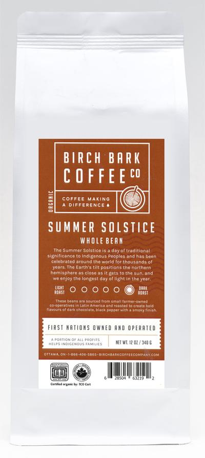 Birch Bark Coffee Co, Summer Solstice Dark Roast, Organic Wholebean, 340g