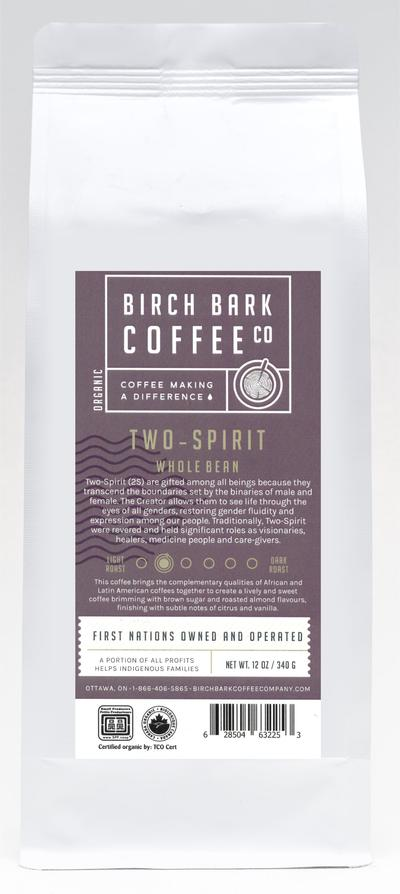 Birch Bark Coffee Co, Two- Spirit Light Roast Coffee, Organic Wholebean Roast, 340g