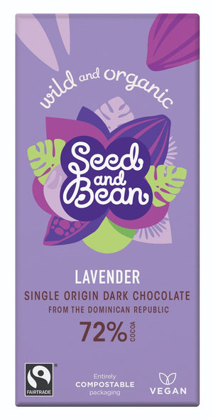 Seed & Bean, Lavender Dark Chocolate 72% Bar, 85g