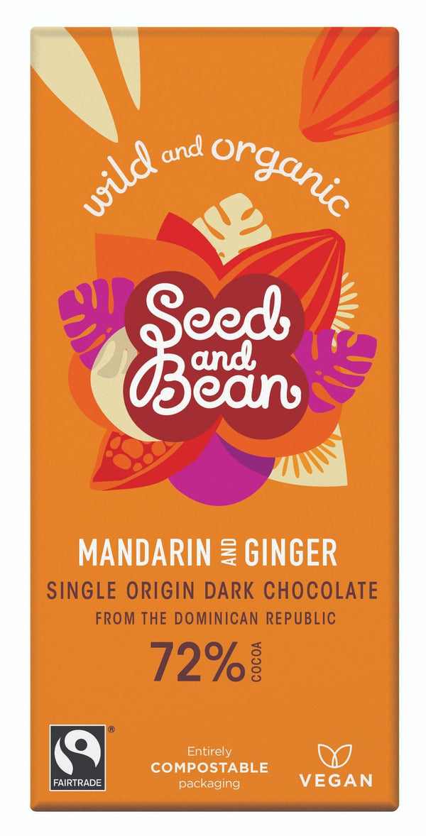 Seed & Bean, Mandarin & Ginger Dark Chocolate 72% Bar, 85g
