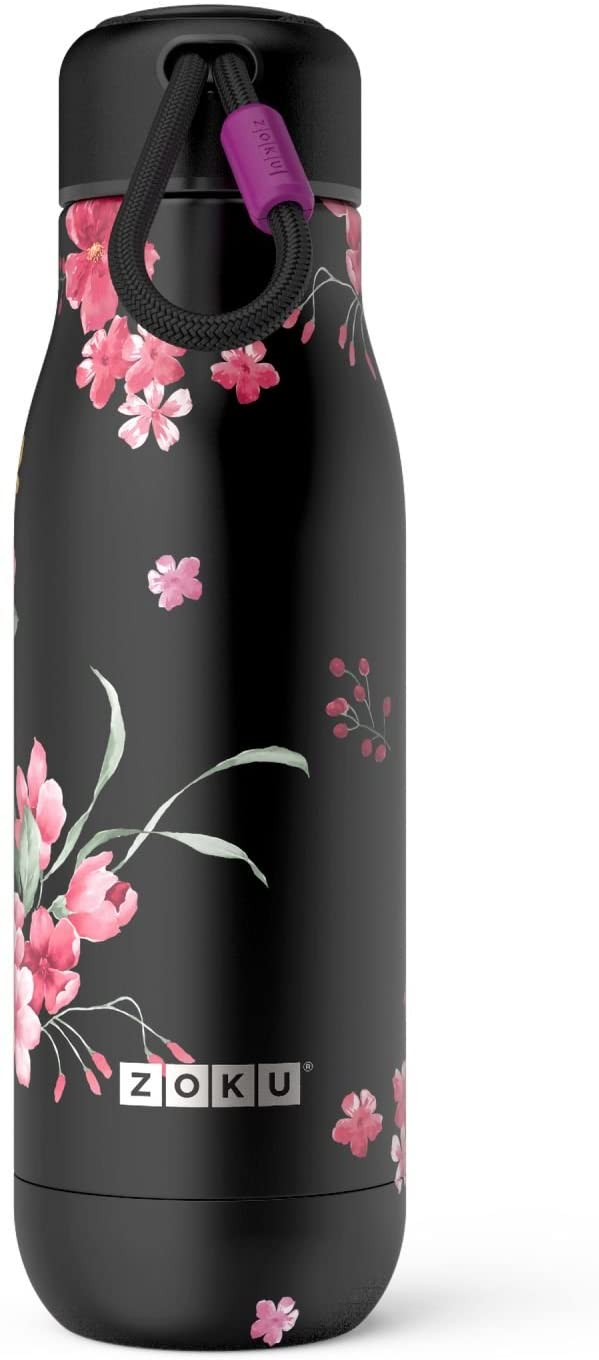 Zoku 18oz Stainless Vacuum Sealed Bottle - Midnight Floral
