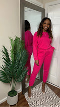 Hot Pink | Lazy Linen Pullover & Jogger Set