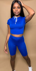 Royal Babe Blue Striped Hoodie Set
