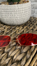 Red || Gold Rim Square Retro Sunglasses