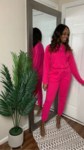 Hot Pink | Lazy Linen Pullover & Jogger Set (1X-3X)