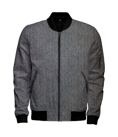 Black Grey Large Lined Herringbone Wool Bomber Jacket - $270