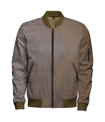 Rust Brown Pink Lavender Herringbone Wool Bomber Jacket - $270