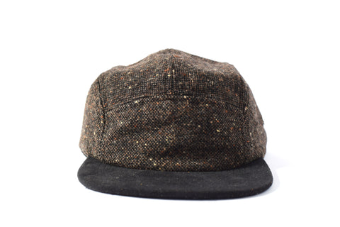 Black Brown Chequered Wool Five Panel Hat