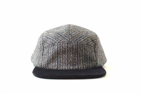 Black White Large Herringbone Five Panel Hat