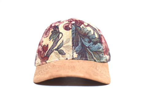 Beige Floral Six Panel Hat