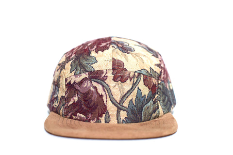 Beige Floral Five Panel Hat