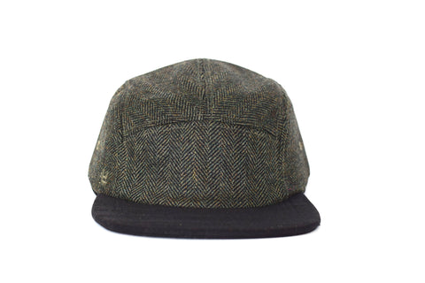 Green Black Herringbone Five Panel Hat
