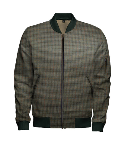 Beige Green Red Check Wool Bomber Jacket - $260