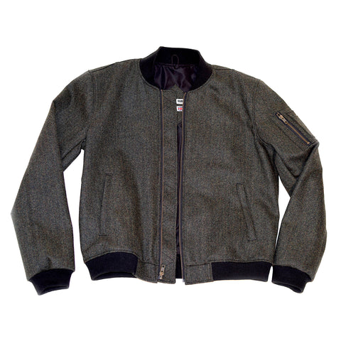 Green Black Herringbone Wool Bomber Jacket - $260