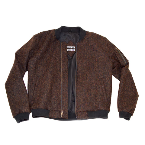 Black Orange Melange Herringbone Wool Bomber Jacket - $260