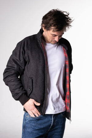 Baracuta G9 Harrington Melton Jacket Charcoal - Baracuta