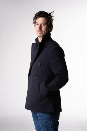 Herrenbude Pea Coat Loro Piana Midnight Blue - Herrenbude