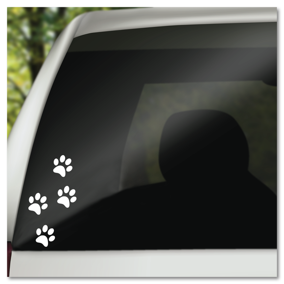 4 Dog Paw Prints Vinyl Decal Sticker