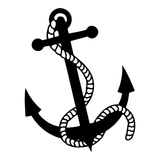 Anchor & Rope Nautical Navy Vinyl Decal Sticker