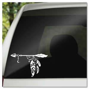 Boho Bohemian Arrow with Feathers and Crescent Moon Vinyl Decal Sticker
