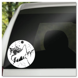 Howling Wolf with Mountain Landscape in the Moon Vinyl Decal Sticker
