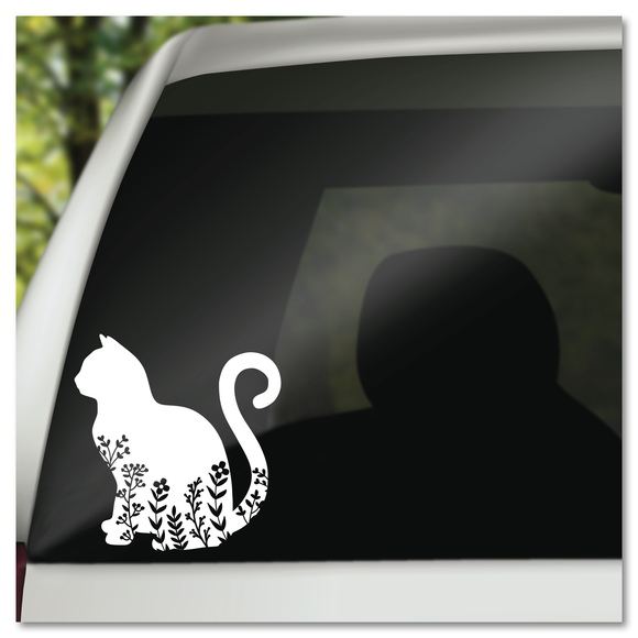 Floral Kitty Barn Yard Chic Boho Vinyl Decal Sticker