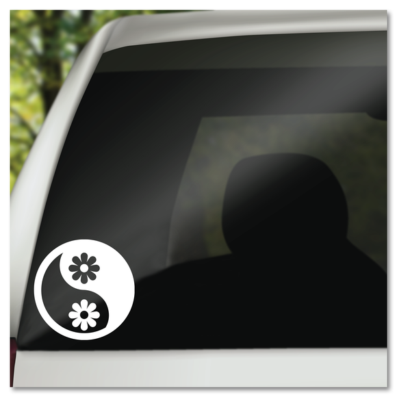 Flower Power Yin Yang Vinyl Decal Sticker
