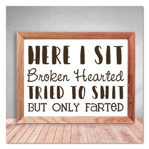 Here I Sit Broken Hearted Tried To Shit But Only Farted Bathroom Humor Vinyl Decal Sticker