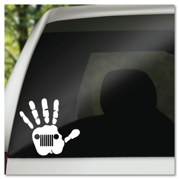 Jeep Wave Jeep Grill in Hand Vinyl Decal Sticker