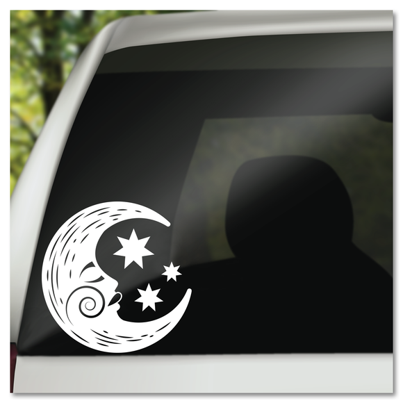 Magical Crescent Moon and Stars Vinyl Decal Sticker