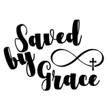 Saved By Grace Infinity Symbol with Christian Cross Vinyl Decal Sticker