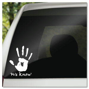 Skyrim We Know Hand Print Mysterious Note Dark Brotherhood Vinyl Decal Sticker