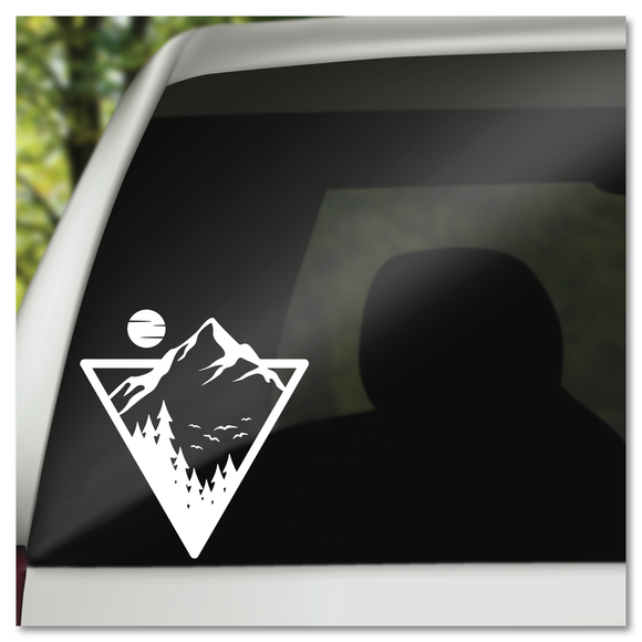 Forest Mountains in Triangle with Moon Vinyl Decal Sticker