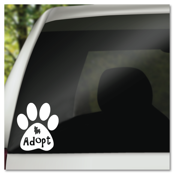 Adopt A Dog in Paw Prints Vinyl Decal Sticker