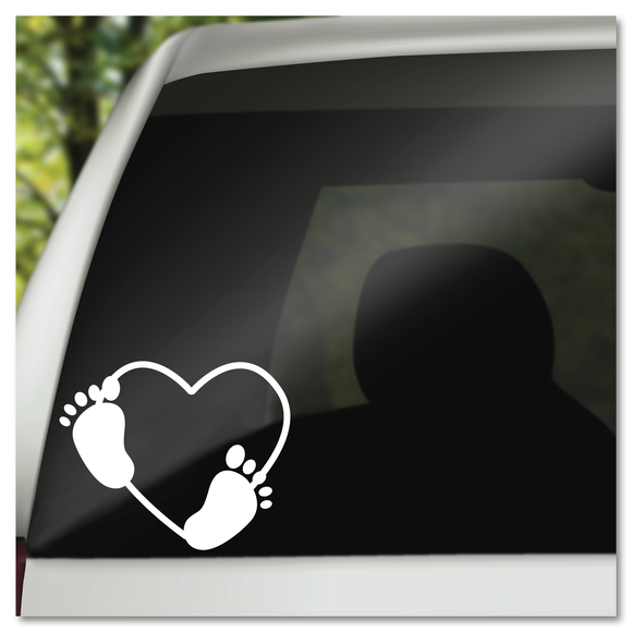 Baby Feet in Heart Vinyl Decal Sticker