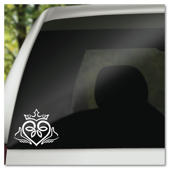 Celtic Irish Claddagh Love Faith Loyalty Heart Crown Hands Vinyl Decal Sticker