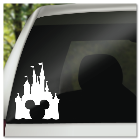 Disney Castle with Hidden Mickey Icon Cut Out Vinyl Decal Sticker