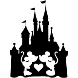 Disney Castle with Kissing Mickey Mouse Minnie Mouse Love Vinyl Decal Sticker
