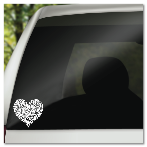 Ornamental Filigree Heart Vinyl Decal Sticker