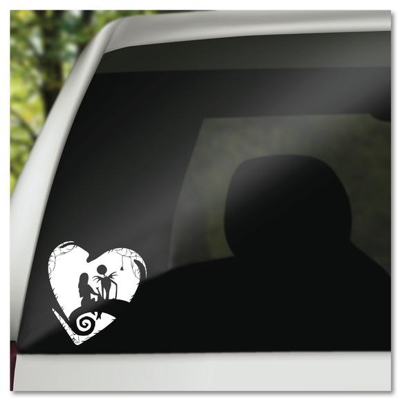 Nightmare Before Christmas Jack Skellington Sally in Heart on Spiral Hill Vinyl Decal Sticker