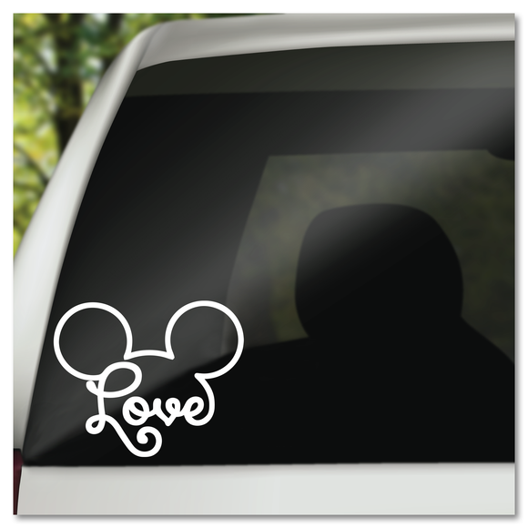 Disney Mickey Mouse Ears Icon with the Word Love Vinyl Decal Sticker
