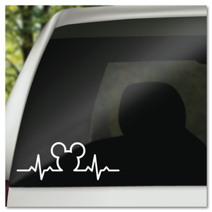 Hidden Mickey Mouse Icon in Heartbeat Disney Vinyl Decal Sticker