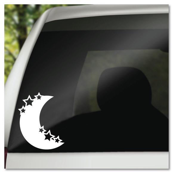 Crescent Moon with Stars Vinyl Decal Sticker